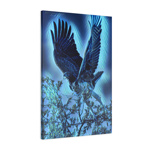 Eagle is landing digital photo poster blue print poster - Interior Design Genie
