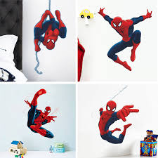 Super Hero 3D Cartoon Spiderman Wall Stickers For Kids Rooms Decals Home  Decor Kids 3D Wall