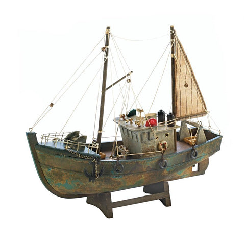 Model Fishing Cutter Nautical Boat Decor  Office / Man Cave Wood Ocean boat with sails. Free shipping - Interior Design Genie