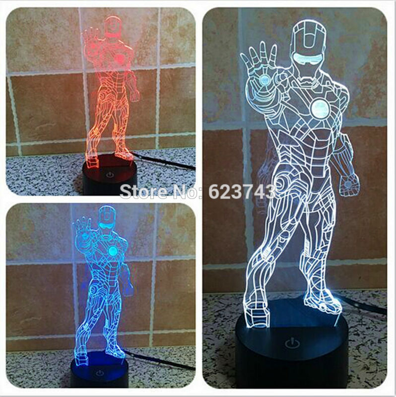 3D Avengers Iron Man Laser LED Night Light Colour Changeable USB, Home Decor ,Interior