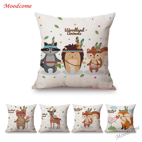 Cute Cartoon Woodland Animals Baby Nursery Art Home Decor Throw Pillow Case Owl Panda Deer Rabbit Kids Room Sofa Cushion Cover - Interior