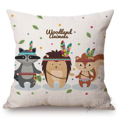 Cute Cartoon Woodland Animals Baby Nursery Art Home Decor Throw Pillow Case Owl Panda Deer Rabbit Kids Room Sofa Cushion Cover, Cushions Covers,Interior Design Genie ,