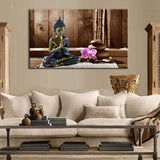Canvas print Meditating Buddha with Orchid and Stones natural colours., canvas,Interior Design Genie ,