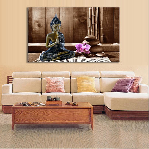 Canvas print Meditating Buddha with Orchid and Stones natural colours.Free shipping., canvas,Interior Design Genie ,