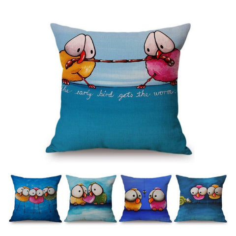 Cute Cartoon Oil Painting Funny Birds Abstract Art Home Decor Pillow Case Cotton Linen Blue Cute Owl Kids Room Cushion Cover, cushions,Interior Design Genie ,