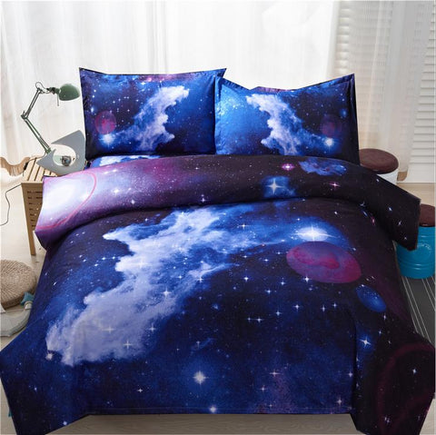 3d Galaxy Duvet Cover Set Single double Twin/Queen 2pcs/3pcs/4pcs Universe Outer Space, Home Decor,Interior Design Genie ,