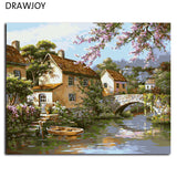 Landscape Frameless Picture Painting By Numbers DIY Oil Painting On Canvas Home Decoration For Living Room, ,Interior Design Genie ,