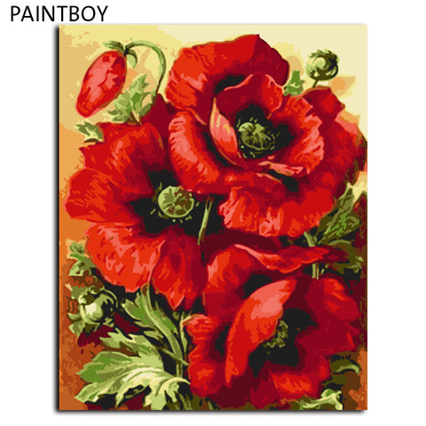 Red Flower DIY Frameless Pictures Painting By Numbers DIY Digital Canvas Oil Painting Home Decor For Living Room  40*50cm, canvas,Interior Design Genie ,