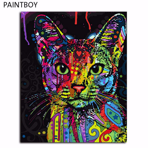 Abstract pop art Cat for Paint your own oil painting on canvas for DIY lovers., canvas,Interior Design Genie ,