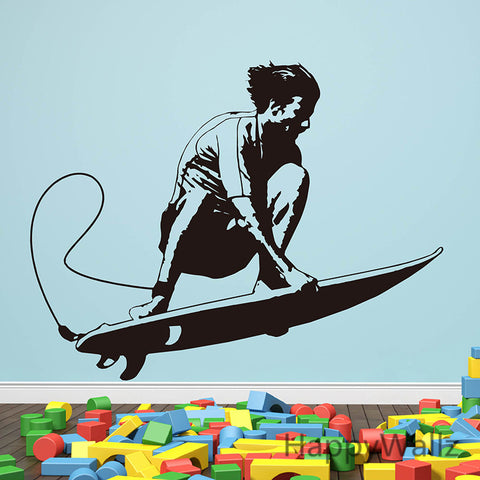 Surfer Surfing Wall Sticker Surfing Wall Decal DIY Children Decorating Vinyl Wall Art Sport Decors - Interior Design Genie