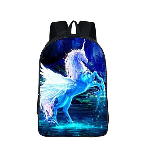 Crystal Blue 3D Unicorn Bookbag Fantastic 3D Print Horse Waterproof Backpack Kid Teenager Boys/Girls - Interior Design Genie
