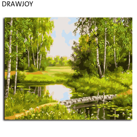 Landscape DIY Painting By Numbers DIY Canvas Oil Painting. - Interior Design Genie