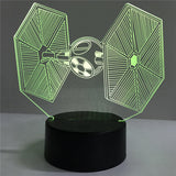3D Star Wars Titanium Fighter LED Night Light 3D Stereo Vision Nightlights Colorful Touch Sensor., Home Decor,Interior Design Genie ,