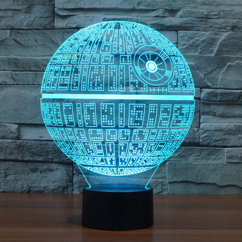 Galaxy Wars LED Table Night Light 3D Optical Illusion USB Cable Desk Lamp Death Star, Home Decor,Interior Design Genie ,