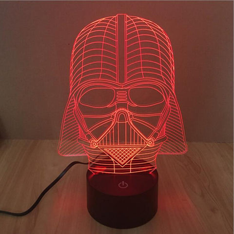 Galaxy Wars 3D Novelty Light Inspired by Star Wars Death Star Black Warrior Touch Sensor 7 Colors LED Lamp, Home & Garden > Lighting > Lamps,Interior Design Genie ,