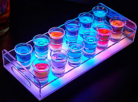 Waterproof LED shooters light-up Party Tray  12 Bottle / Shot-Glass Tray Cup Holder colourful LED rechargeable light up Wine cups rack bars ice shots, Home & Garden > Kitchen & Dining > Barware > Beer Dispensers & Taps,Interior Design Genie ,