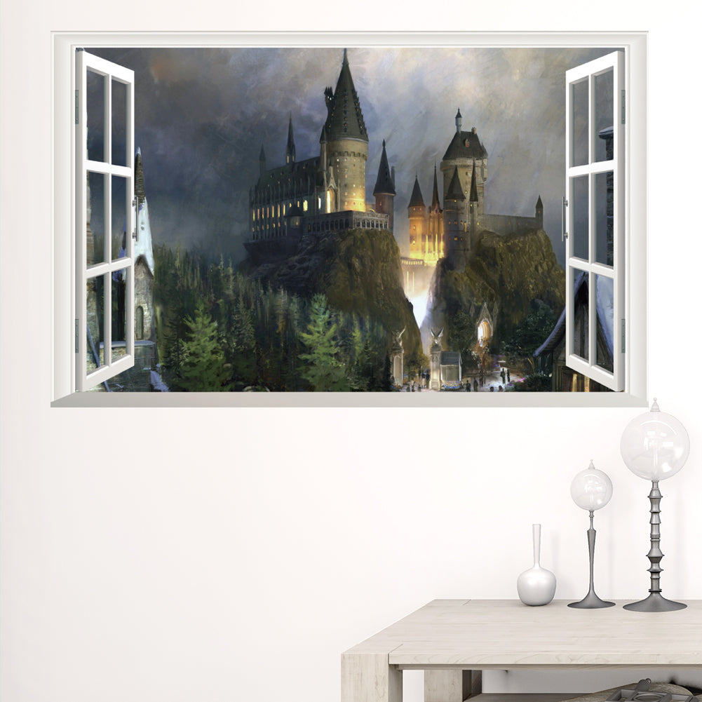 Harry Potter Poster 3D Window Decor Hogwarts Decorative Wall Stickers Wizarding World School Wallpaper For Kids