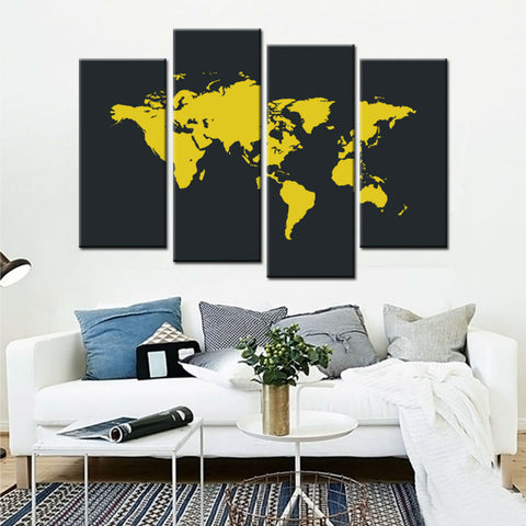 World Map Bright Yellow Perfect for a Living Room4 Panel World wall canvas., Canvas,Interior Design Genie ,