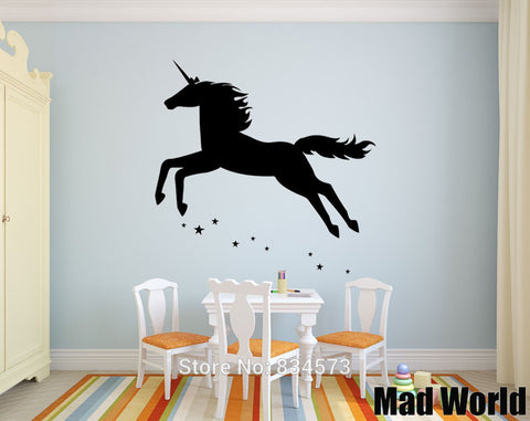 Unicorn Girls Stars Mythical Unicorn Wall Art Sticker Wall Decal Home Decoration Removable, Home Decor,Interior Design Genie ,