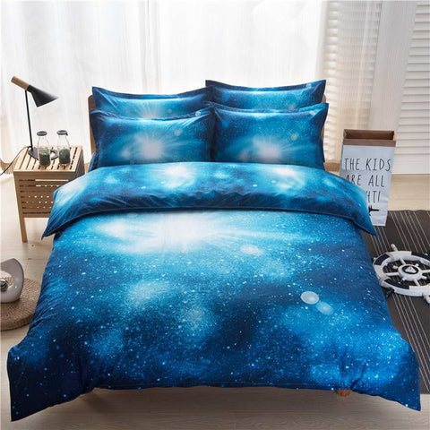 3D Sea Blue Home Bedding Set Twin/Queen Themed pillowcase Bed Linen flat Sheet, Home & Garden > Linens & Bedding > Bedding > Duvet Covers,Interior Design Genie ,