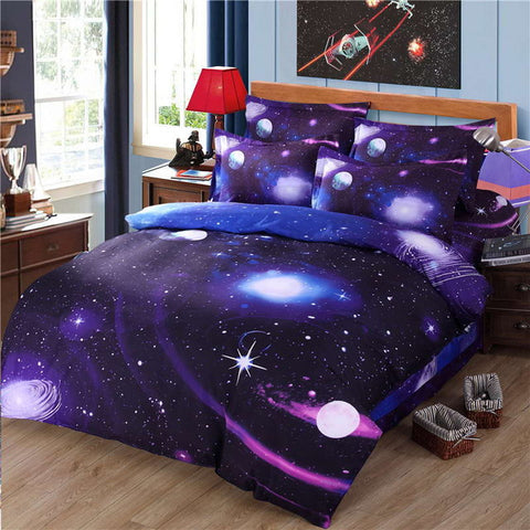3d Galaxy Home Bedding Set Twin/Queen Universe Outer Space Themed pillowcase Bed Linen, Home Decor,Interior Design Genie ,