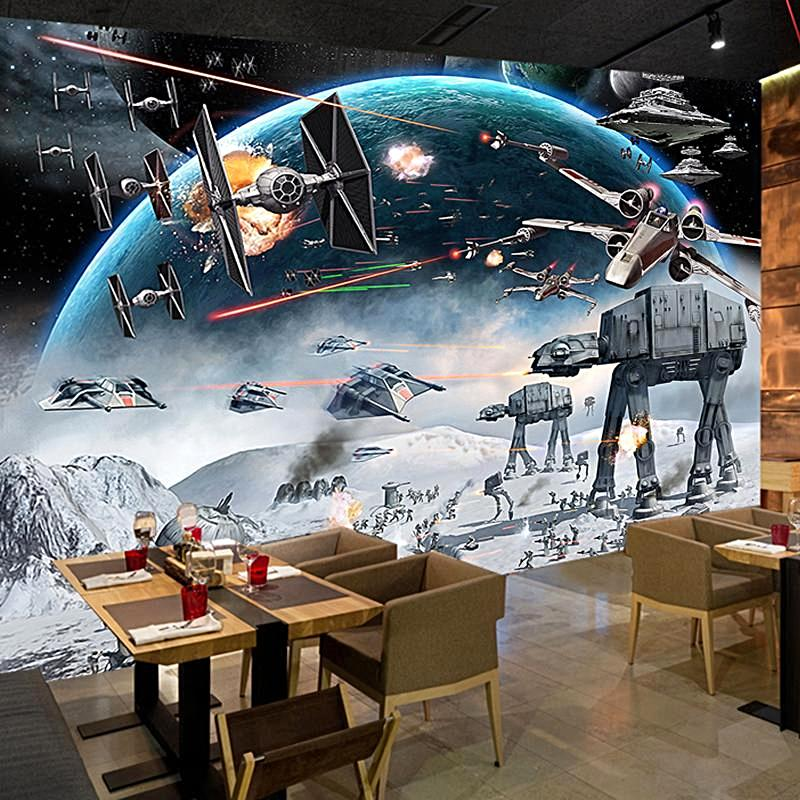 star wars inspired mural 3d custom photo wall paper cartoon kid 39 s themed rooms interior. Black Bedroom Furniture Sets. Home Design Ideas