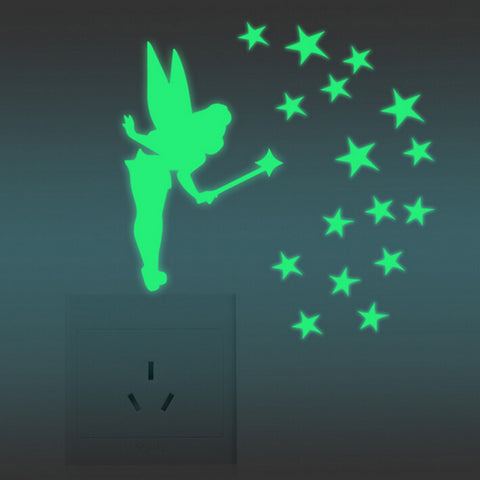 Fairy Stars Luminous Fluorescent Wallpaper Decal Wall Stickers Decal Glow In The Dark - Interior Design Genie