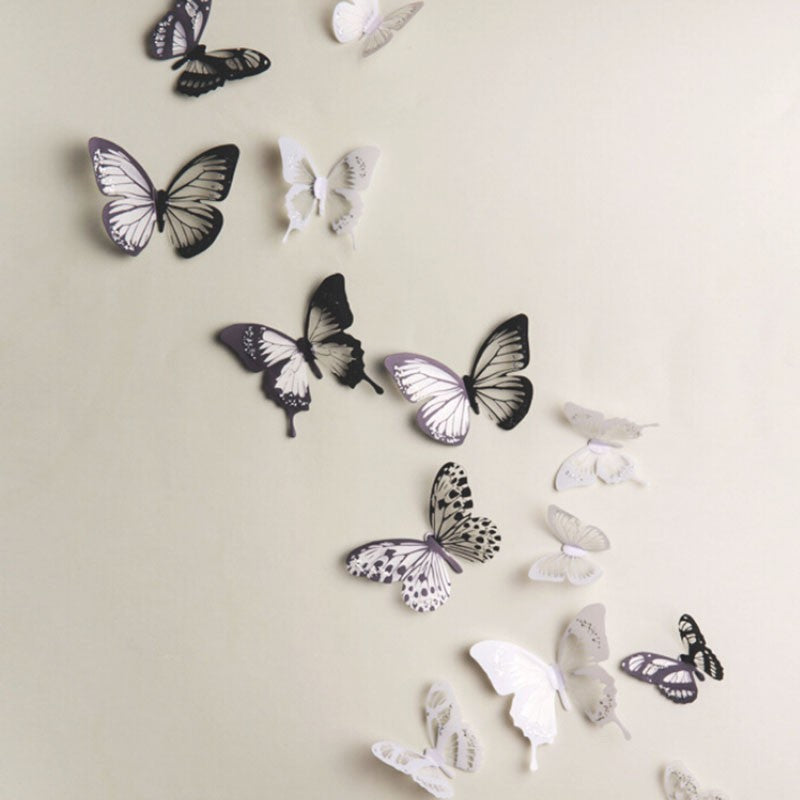 Butterfly 3D Wall Stickers 18 Pcs / Lot Adhesive Decals Home ...