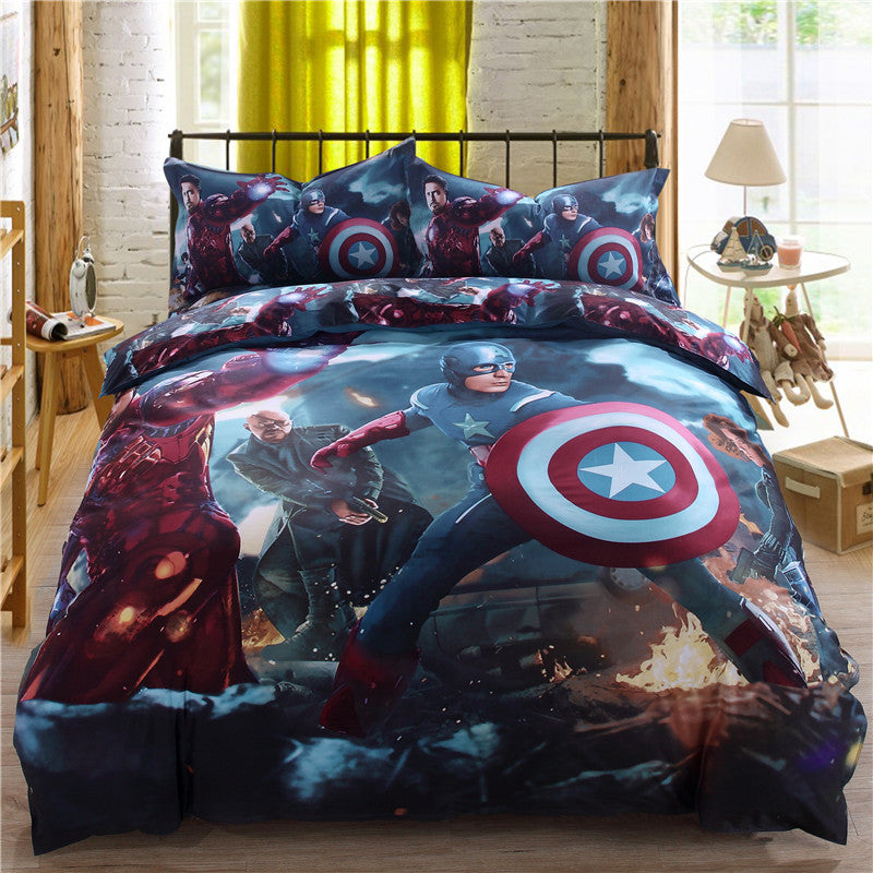 Spider Man Cartoon Boy Girl Kids 3d Bedding Sets 100% Cotton Bed Linen Duvet