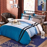 2020 12+ Colours 100% Cotton Geometric Stripe Bedding Set King Queen Twin Size  4Pcs Duvet cover Bed sheet Pillowcase - Interior Design Genie
