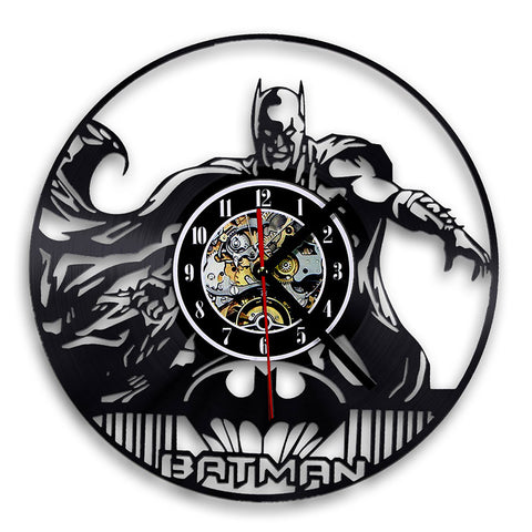 Bat man Classic CD Record Wall Clock 3D Decorative Hanging Art Decor Clocks Exclusive Wall Clock Made of LP Vinyl Record, Home Decor,Interior Design Genie ,