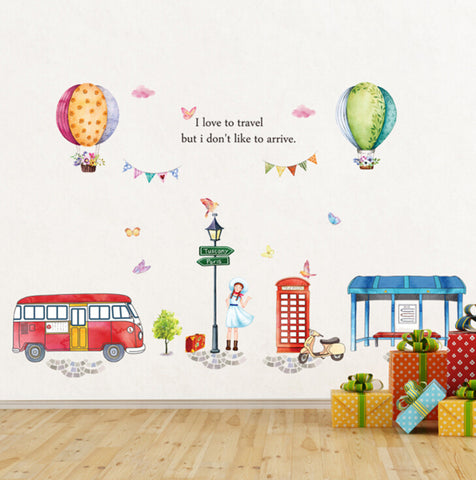 Cartoon Hot Air Balloon Street View large wall stickers for kids room decor diy art decals removable pvc sticker, Wall Decal,Interior Design Genie ,