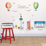 Cartoon Hot Air Balloon Street View large wall stickers for kids room decor diy art decals removable pvc sticker - Interior Design Genie