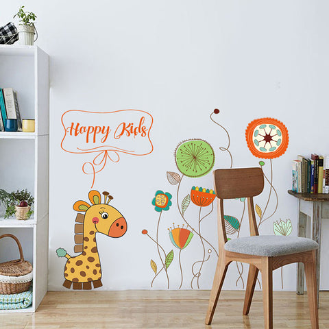 Cartoon Giraffe And Flowers Large Wall Stickers Decals Childrens Room Decor Diy Mural Wallpaper Removable