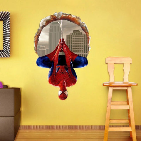 3D Windows Spiderman Cartoon Movie HERO home decal wall sticker for kids room boy birthday gift, Wall Decal,Interior Design Genie ,