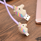 Cute Rainbow Unicorn Mini USB Cable 1 Micro Usb Extension Cable Rubber Data Line Violet Color Android Iphone, wired essentials for your busy mobile life.,Interior Design Genie ,