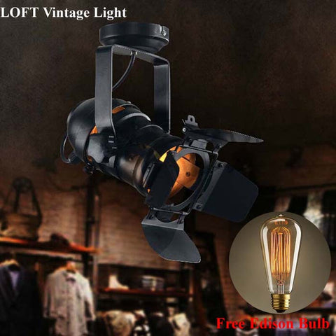 Movie Studio American Style Industrial Loft Lighting Black Vintage Iron Lamp Cafe Lighting 220V 110V, Home & Garden > Lighting > Lighting Fixtures,Interior Design Genie ,