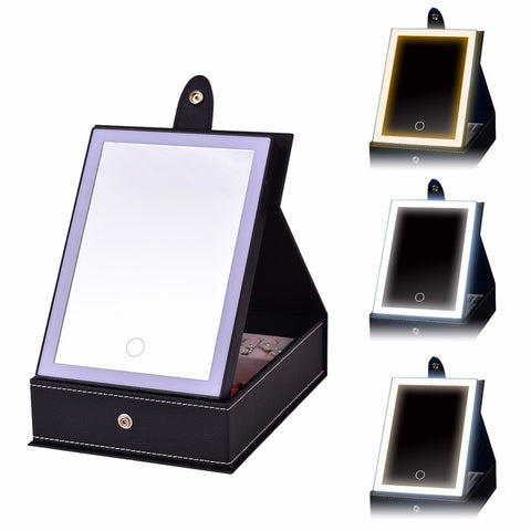 Black USB Lighted Makeup Mirror with Jewelry Box Organizer Tray Display Storage Case LED Light for Travel Cosmetics Earrings Necklaces, Home & Garden > Lighting,Interior Design Genie ,