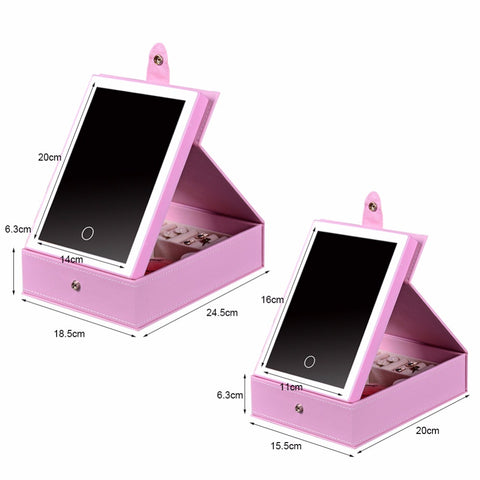 Pink USB Lighted Makeup Mirror with Jewelry Box Organizer Tray Display Storage Case LED Light Travel, Home & Garden > Lighting,Interior Design Genie ,