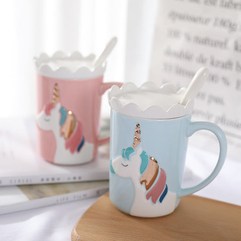 Rainbow Unicorn 3D Relief Ceramic Coffee Mug Crown Lid Spoon Cute Cartoon Milk Coffee Water Cup Pink, Drinkware,Interior Design Genie ,