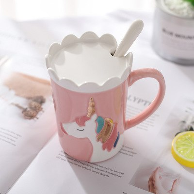 Rainbow Unicorn 3D Relief Ceramic Coffee Mug With Crown Lid Spoon Cute Cartoon Milk Coffee Water Cup With Handle Pink Gift, Drinkware,Interior Design Genie ,