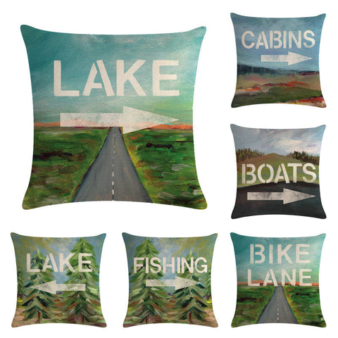 Campers Lake Fishing Boats Cabins Pillow Cover 45*45cm Car Linen Cushion Covers Home Decoration Pillow Case Pattern Pillowcase, Home & Garden Decor,Interior Design Genie ,