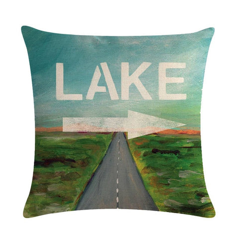 Campers Lake Fishing Boats Cabins Gites Pillowcase 45*45cm Linen Cushion Cover Home Decor Pillowcase, Home & Garden Decor,Interior Design Genie ,