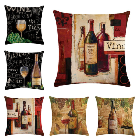 Red Wine Bottle Decorative Cushion Cover Cotton Linen Square Throw Pillow Cover 45x45CM Pillow Case Home Office Gite Sofa Decor, cushions,Interior Design Genie ,