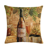 Red Wine Bottle Decor Cushion Cover Cotton Linen Square Throw Pillowcase 45x45CM Home Office Gite's., cushions,Interior Design Genie ,