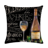 Red Wine Bottle Decor Cushion Cover Cotton Linen Square Throw Pillowcase 45x45CM Home Office Gite's. - Interior Design Genie
