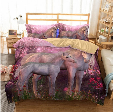 3d Unicorn Bedding Set All Sizes Watercolor Print Bed Set Kids Girl Duvet Cover Dreamlike room - Interior Design Genie