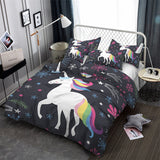 3D Unicorn Star Print Duvet set Bed set with pillowcase Home Textiles Fast shipping 5-6 Days USA - Interior Design Genie