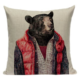 Comic Hunter Deer Bear Pillow Cushion Cover Home Sofa Decor Linen Custom Cartoon Print High-Quality, Home & Garden Decor,Interior Design Genie ,