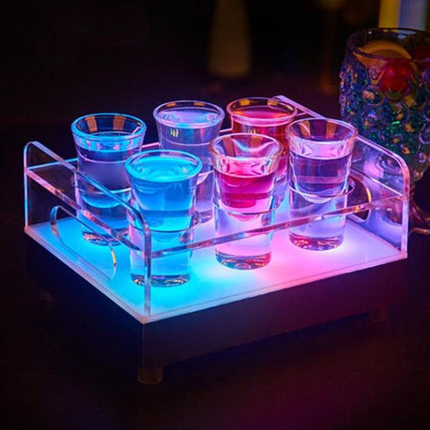 Waterproof Light LED Party Tray 6 Bottle Glass Tray Cup Holder colorful LED recharge bars ice-shots, Drinkware,Interior Design Genie ,